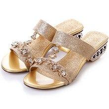2015แบรนด์ใหม่ออกแบบแฟชั่นผู้หญิงส้นแควรองเท้าแตะรองเท้าฤดูร้อนRhinestoneรองเท้าหรูG Litterขนาดบวกสาวรองเท้าแตะ