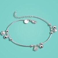 Fashion 925 sterling zilveren Enkelbanden voor vrouwen Beknopte stijl dame populaire charm sieraden voet ketting 27 cm Effen zilveren kettingen
