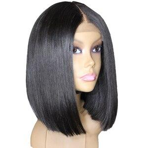 13х6 боб парик на фронте шнурка прямые короткие парики из человеческих волос для женщин черный 150 плотность бразильский Боб парик предварите...