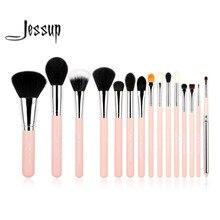 Jessup Pro 15 sztuk pędzle do makijażu zestaw pędzelków Powder Foundation Eyeshadow Eyeliner pędzelek do ust narzędzie różowy/srebrny makijaż przybory kosmetyczne