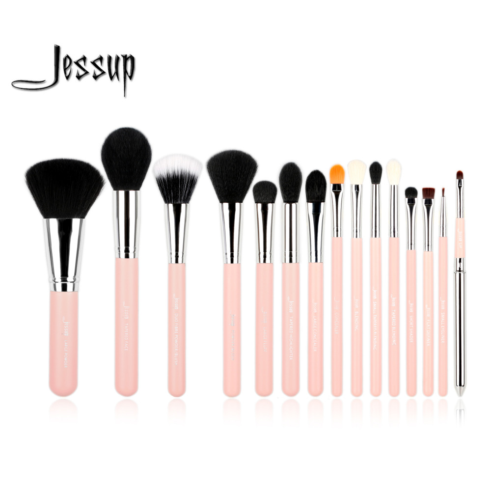 Jessup Pro 15pcs Makeup Brushes Set Powder Foundation Eyeshadow Eyeliner Lip Brush Tool Pink and Silver make up beauty tools mac splash and last pro longwear powder устойчивая компактная пудра dark tan
