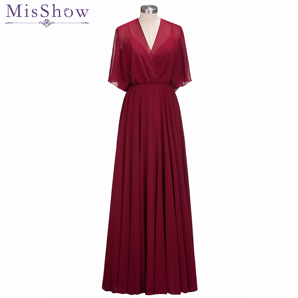 Elegant Long Chiffon A Line   Bridesmaid     Dress   plus size Bat sleeve Wedding Party   Dress   with jacket 2019 Robe Demoiselle D'honneur