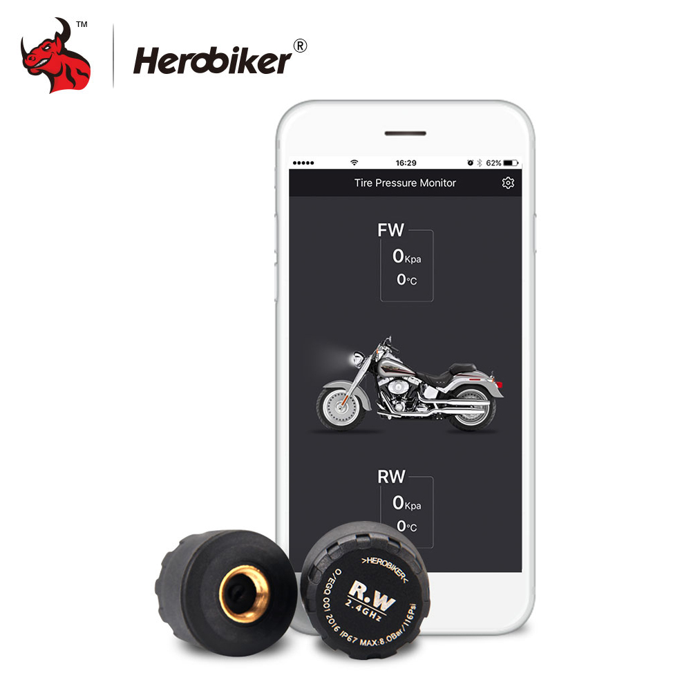 HEROBIKER Motorcycle Bluetooth Tire Pressure Monitoring System TPMS Mobile Phone APP Detection 2 External Sensors ...
