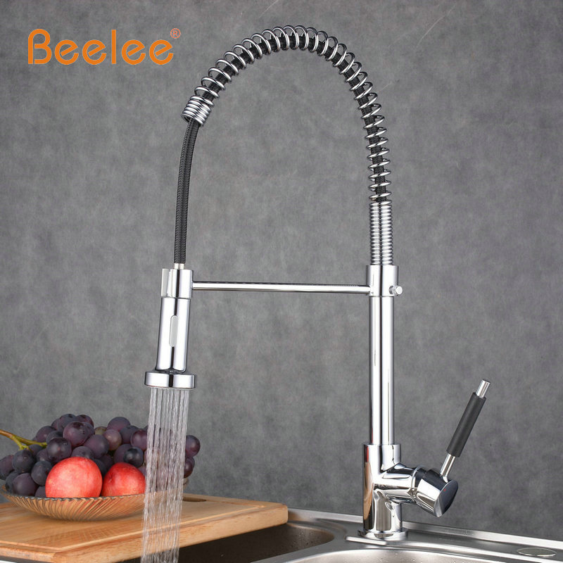 Beelee Spring Style Kitchen Sink Mixer Faucet Pull Chrome Finish ...
