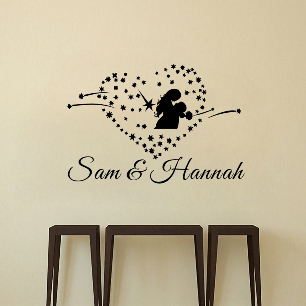 Custom Personalized Lovers and Couples Name Heart Wall Stickers Art Vinyl Wall decals for Home Decoration Wedding Gift in Wall Stickers from Home Garden