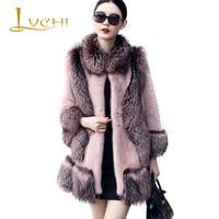 LVCHI Winter 2019 Import Real Mink Fur Coats Pink Women's Natural Fur Medium With Fox Fur Collar Fox Warm Causal Mink Coats