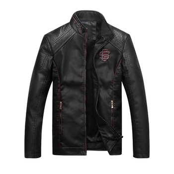 2020 Autumn Fashion Mens Biker PU Leather Jacket Motorcycle Men Casual Coat Thick Slim Fit Male Stand Collar Jacket Coat 1