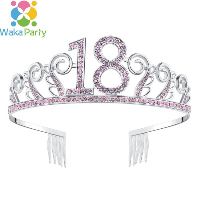 Girls 18th Birthday Princess Tiara Crown Crystal 18 Girl Hat For Years Old Party Decorations Supplies