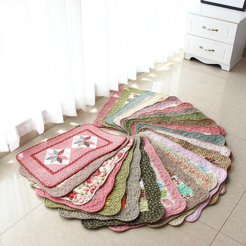 Прямая поставка, 40*60 см, моющийся хлопковый ковер, стеганый коврик для двери, Цветочный Коврик для спальни, Противоскользящие коврики для прихожей, кухни, цветочные коврики