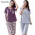 Pijamas De la Mujer de Manga Corta de Algodón Pijama Conjunto Pijama de Dormir Más El tamaño 4XL Ancianos Verano