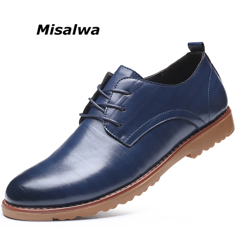 Misalwa Drop Shipping Leather Male Causal Shoes Hot Sale Autumn New Mens Leather Flats Lace-Up Large Sizes Oxford Shoes For Men cimim men shoes luxury brand hot sale breathable soft men casual leather shoes lace up flat black mens shoes large sizes 38 48