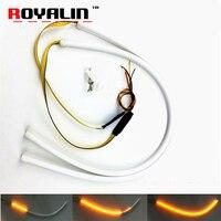 ROYALIN LED Flexible Soft Strip Car DRL Turn Signal White Amber LED Flowing Bar Silicone Waterproof Daytime Running Lights