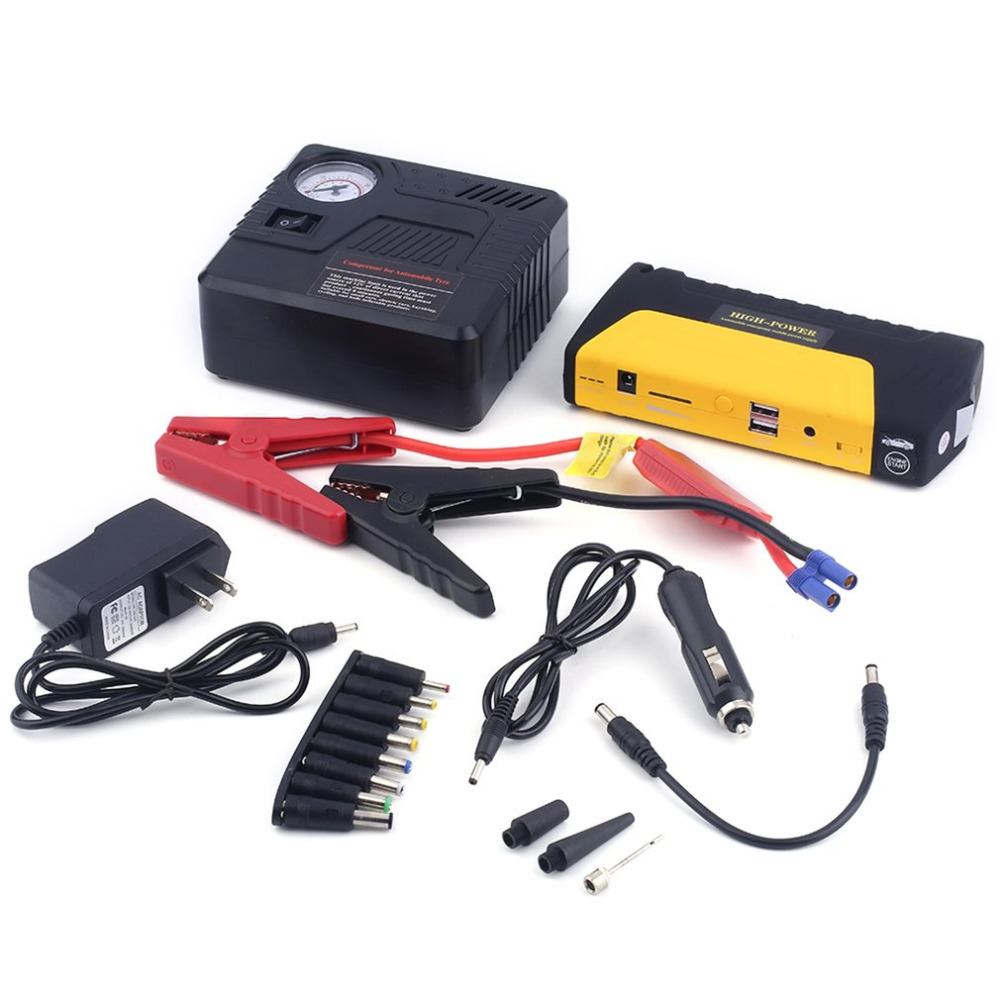 Portable 68800mah USB  Auto Engine Car Jump Starter Emergency Charger Booster Power Bank Battery With Air Pump Set portable car jump starter power bank rechargeable start battery source aa usb power bank charger