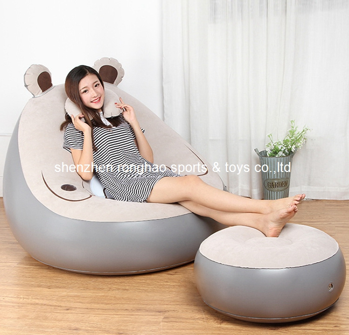 Cat Design Flocked PVC Inflatable Living Sofa Lounge Air Chair With Foot Rest Ottoma Stool With Cup Holder Pocket Indoor Outdoor