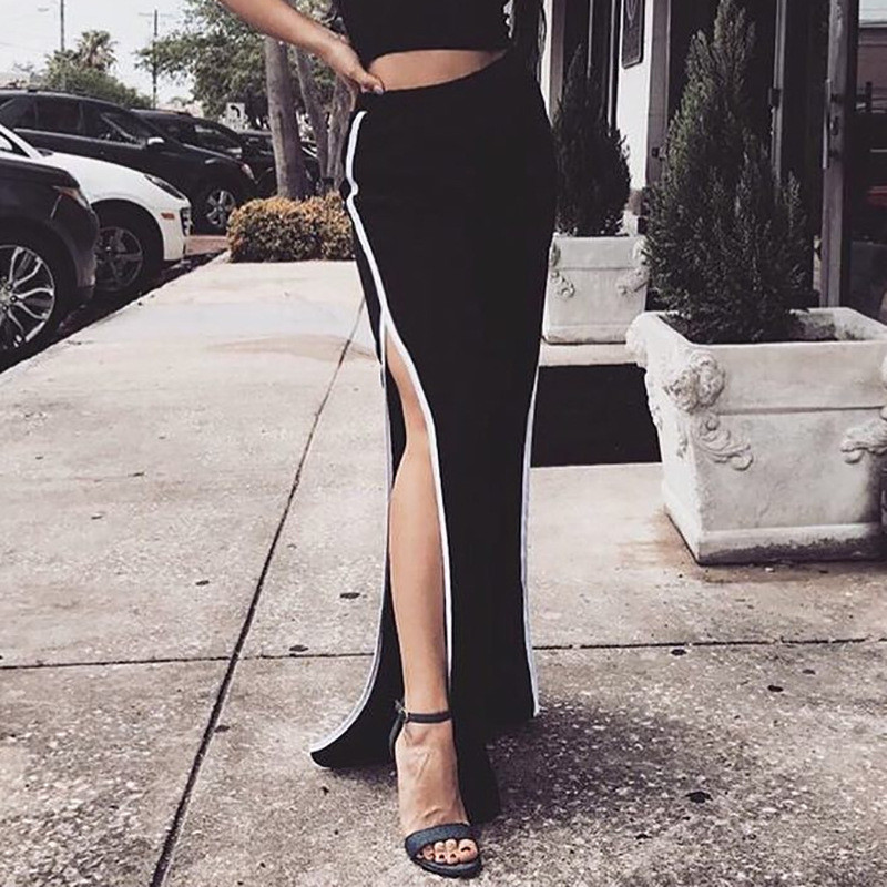 WKOUD Women   Pants   Casual Side Striped   Wide     Leg     Pants   High Waist Trousers Pantalon Femme Streetwear Sexy Sweatpants P8482