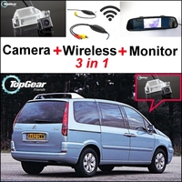 3 in1 Special Camera + Wireless Receiver + Mirror Monitor Easy DIY Back Up Parking System For Citroen C8 MK2 2002~2015