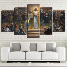 Wall Art Canvas Pictures Home Decor Frame 5 Pieces Classic Painting Jesus Christ Returns To Earth Christian Prints Poster PENGDA(China)