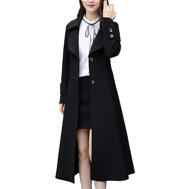 c41315b23c750 Plus size 6XL Trench coat for Women 2019 Autumn Fashion Black Outerwear Long  Windbreaker Female Slim
