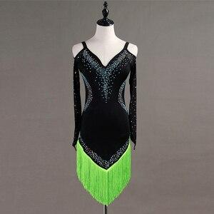 Image 5 - Custom made Latin dans elbise kadın kızlar Rumba Cha cha etek balo salonu yarışması kostüm giyim elmas dans elbise