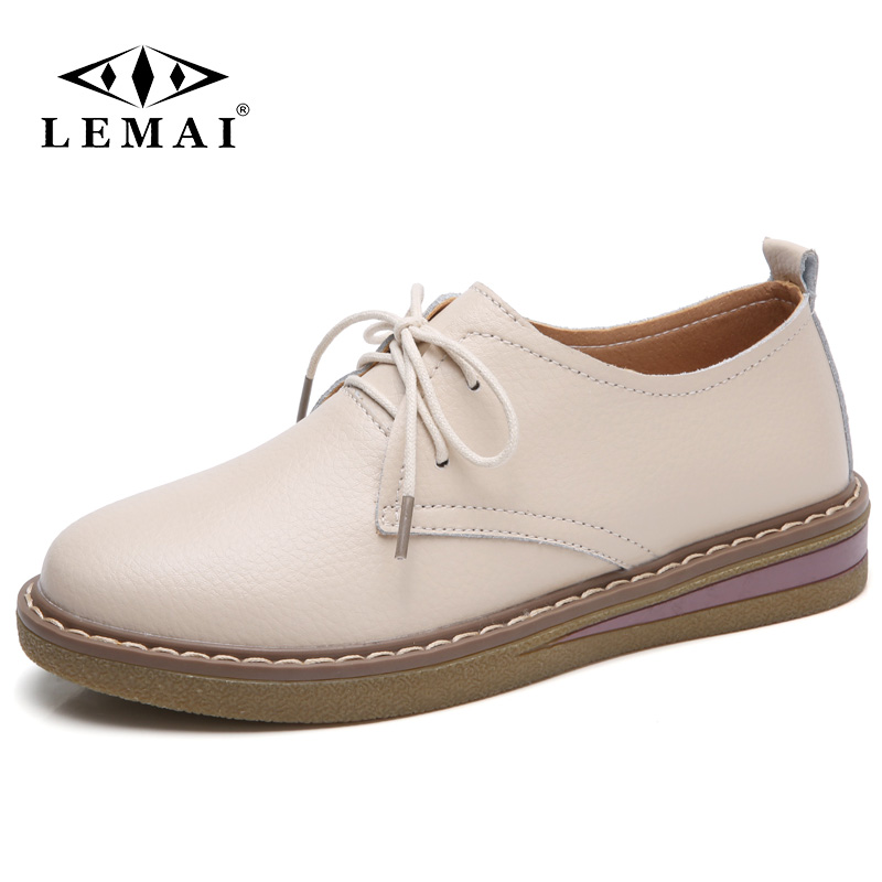 LEMAI 2018 Autumn women sneakers oxford shoes flats shoes women Split leather lace up boat shoes