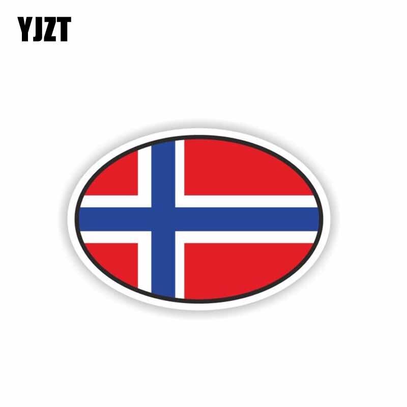 YJZT 11.9CM*8CM Car Styling Norway Flag Oval Car Sticker Window Helmet Decal 6-2236