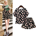 2017 Women Casual Printed Flower Short Sleeve Tops Elastic Waist Shorts Two Pieces Sets 2017 Fashion Plus Size XL-5XL Clothing
