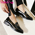 Vallkin 2017 primavera charol otoño zapatos de mujer de tacón bajo bombas Estilo Británico Slip on Square Talón de Las Mujeres Calza Tamaño 34-39