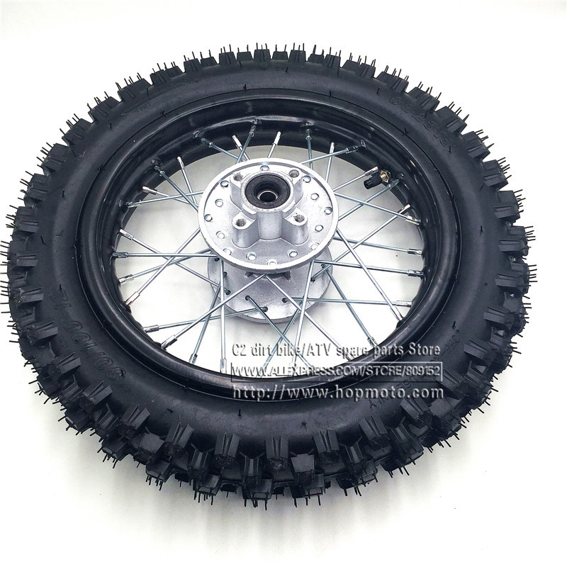 80/100-12 Guangli Tyres 1.85 -12inch Rear Steel Rims Brake Disc Plate Wheel Rims Hub CRF50 APOLLO 110 Kayo Chinese Dirt Pit Bike crf50 frame battery box dirt pit bike case holder off road motorcycle apollo 110 chinese motocross