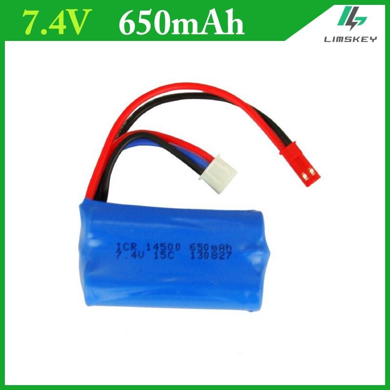 Batería de 7,4 V 650 mAH para control remoto helicóptero li-po 2s batería 650 mAH 7,4 V 14500 15C batería de juguete
