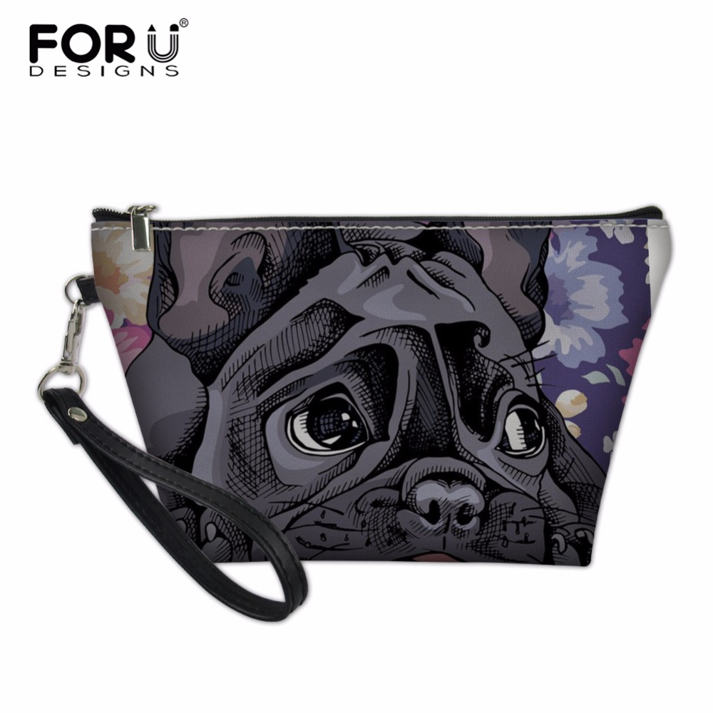 FORUDESIGNS Portable Make up Women Makeup Organizer Bag Girls French Bulldog Print Cosmetic Bag Toiletry Travel Kits Storage Bag все цены