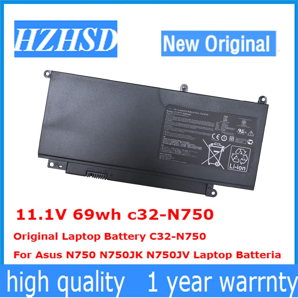 11.1V 69wh C32-N750 Original Laptop Battery C32-N750  For Asus N750 N750JK N750JV Laptop Batteria