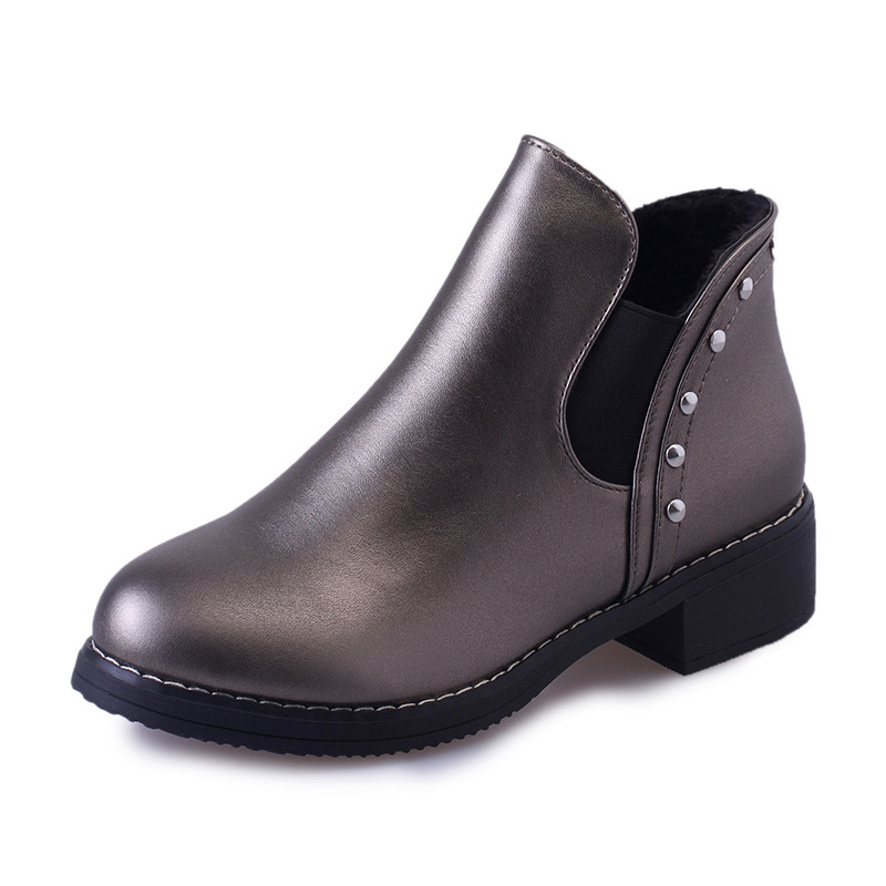 shoes Women 2016 new high-heeled Martin boots British wind nude women's thick with water