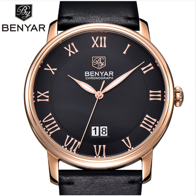 Mens Watches Top Brand Luxury Men Quartz Watch Casual Waterproof Sports Watches Military Men Leather Relogio Masculino BENYAR casual mens watches top brand luxury men s quartz watch waterproof sport military watches men leather relogio masculino benyar