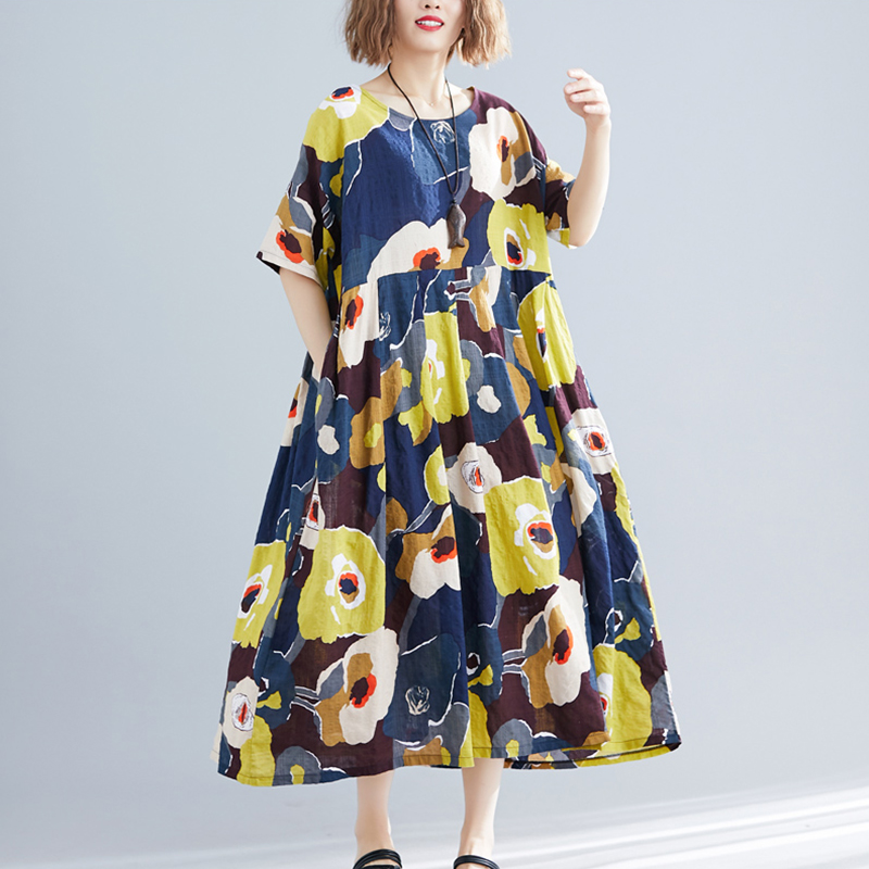 2019 Summer New Bohemian Dress Women Plus Size Ethnic Style Plumeria Printed Stitching 200 pounds fat MM can wear Dress aa752