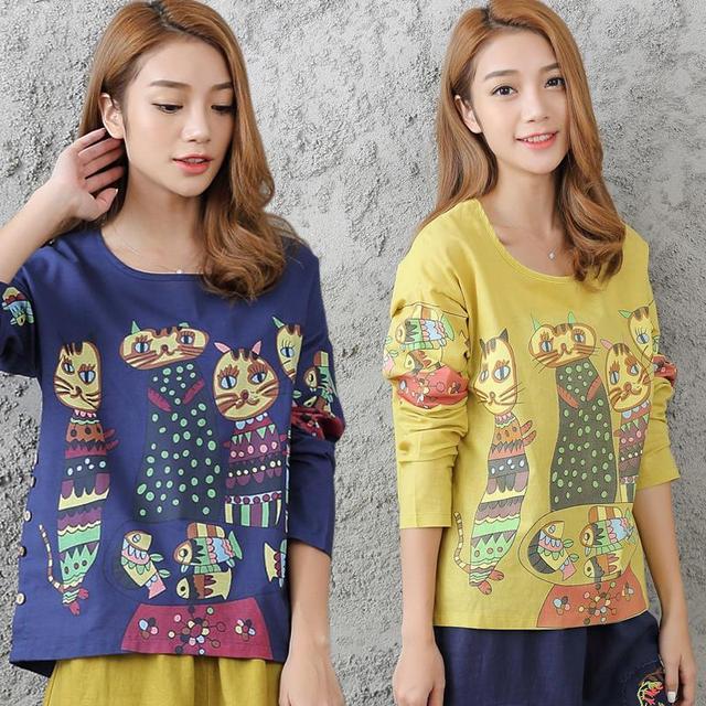 2017 de primavera y otoño de las mujeres de manga larga estilo literario y artístico de algodón lana cat de pescado de impresión camiseta floja de gran tamaño