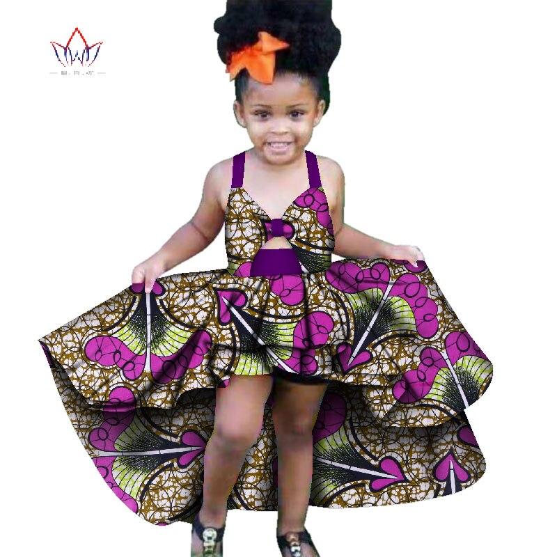 New Fashion Africa Children Clothing Dashiki Cute Girls Dresses Bazin Ruffles African Traditional Clothing WYT277