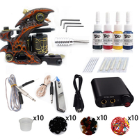 Biomaser K1 007 Complete Beginner Tattoo Kit Machine Guns Inks Needles Tattoo Power Supply