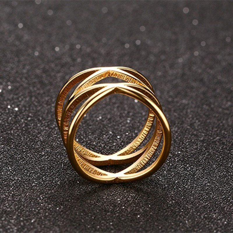 2016 popular hollow cross ring stainless steel electroplating gold wedding rings men women unisex fashion jewelry wholesale