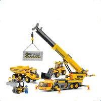 KAZI 8045 380Pcs City Crane Lift Model Building Blocks Baby Toys For Children Compatible Famous Brand