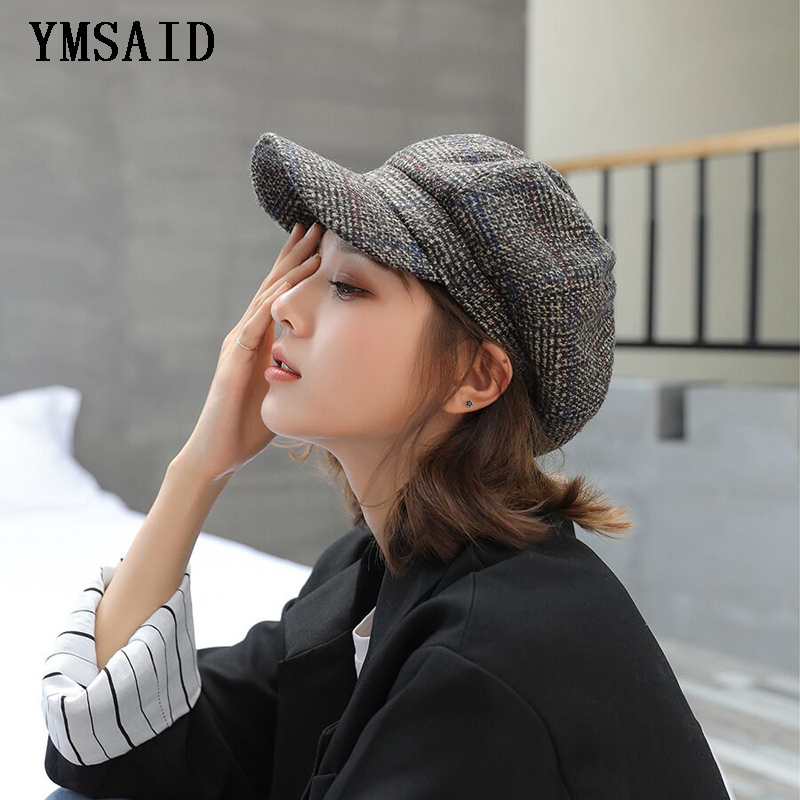 Ymsaid Women Newsboy 2019 Wool Felt Berets High Quality Autumn Winter Hat Thick Warm Painter Octagonal Cap Retro Plaid Beret Cap