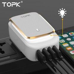 Topk L-Мощность 4-Порты и разъёмы 4.4a (макс.) 22 Вт ЕС USB Зарядное устройство адаптер Светодиодная лампа Auto-id Портативный телефона Путешествия стен...