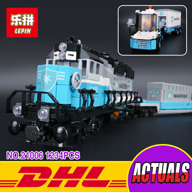 Lepin 21006 New 1234Pcs Genuine Technic Ultimate Series The Maersk Train Set Building Blocks Bricks Educational Toys lepin 21006 compatible builder the maersk train 10219 building blocks policeman toys for children