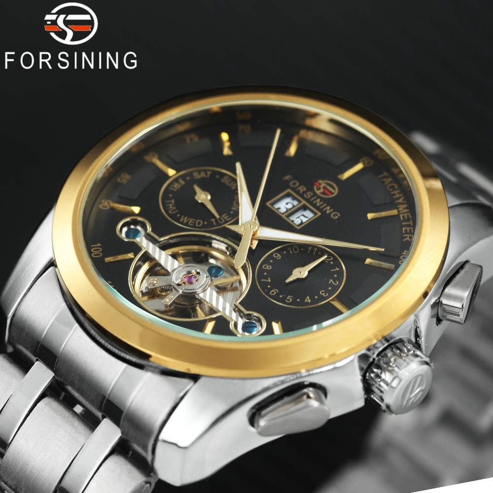 FORSINING Top Brand Luxury Men Auto Mechanical Watch Tourbillon Sub-dial Stainless Steel Strap 12H Week Date Display Wrist Watch orkina luxury brand automatic mechanical men s watch black brown leather strap wrist watch gifts auto date week month display