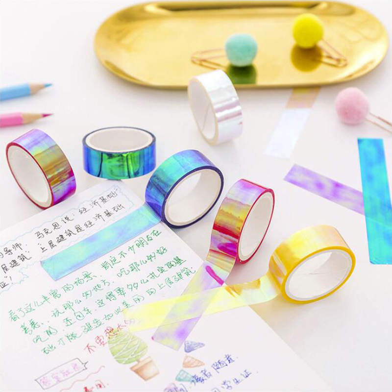 Colorful Gradient Laser OPP Tape Sticky Decor Japanese Scrapbook DIY Office Stationery Decorative Adhesive Masking Tape 1PCS/Lot