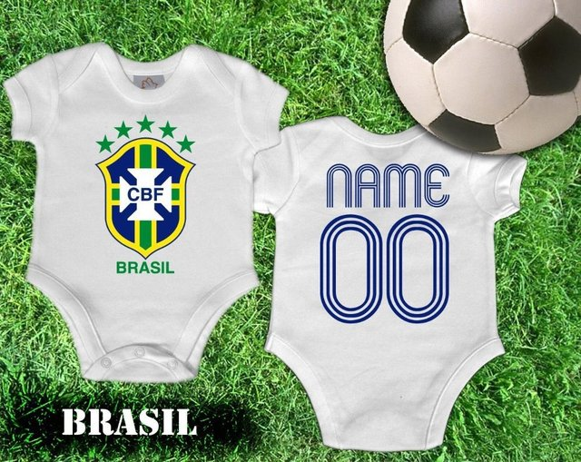 46dd7f5d0ba3 BRAZIL INFANT soccer JERSEY ROMPER BABY BODYSUITS FOOTBALL! CUSTOM  NAME NUMBER