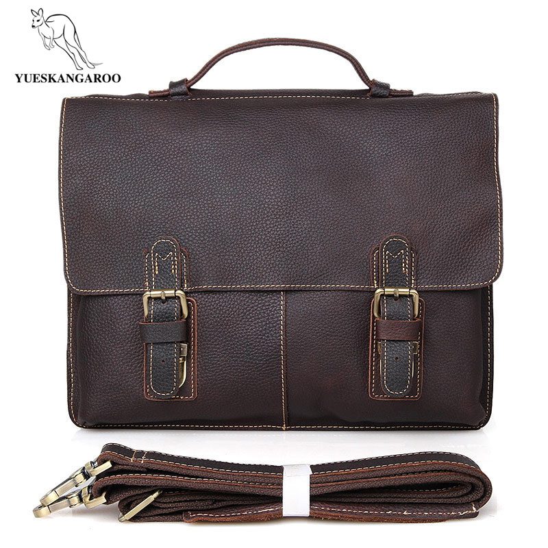 YUESKANGAROO Genuine Leather Men Business Shoulder Bag Famous Brand Cross Body Messenger Bags Cowhide Handbag Tote Briefcase New genuine touch screen digitizer lcd display module w tools kit for ipod nano 6