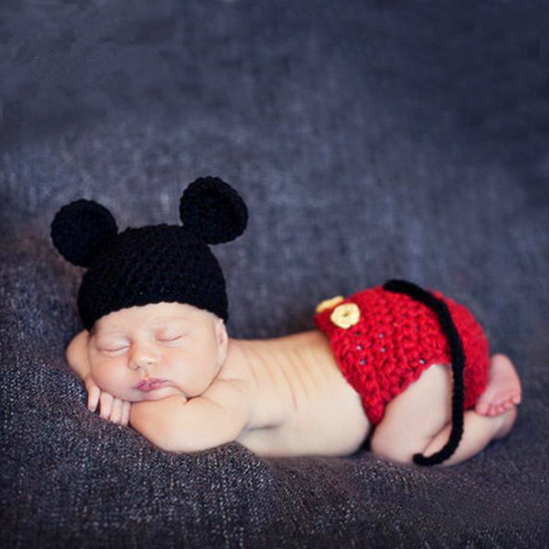 Newborn Photography Props	Accessories Knitted Baby Photography Clothing Crochet Mickey Hat Set Studio Baby Photo Props Accessory