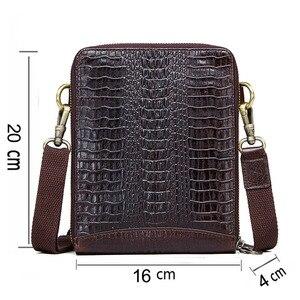 Image 2 - Top Qualität Männer Messenger Schulter Tasche Aus Echtem Leder Vintage männer Krokodil Umhängetasche Mit Karte Halter Handy Tasche