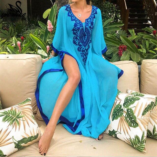 2019 плюс размер синий вышитый Летний Пляжный шифоновый кафтан пляжная Женская Туника купальный костюм плащ купальная одежда накидка