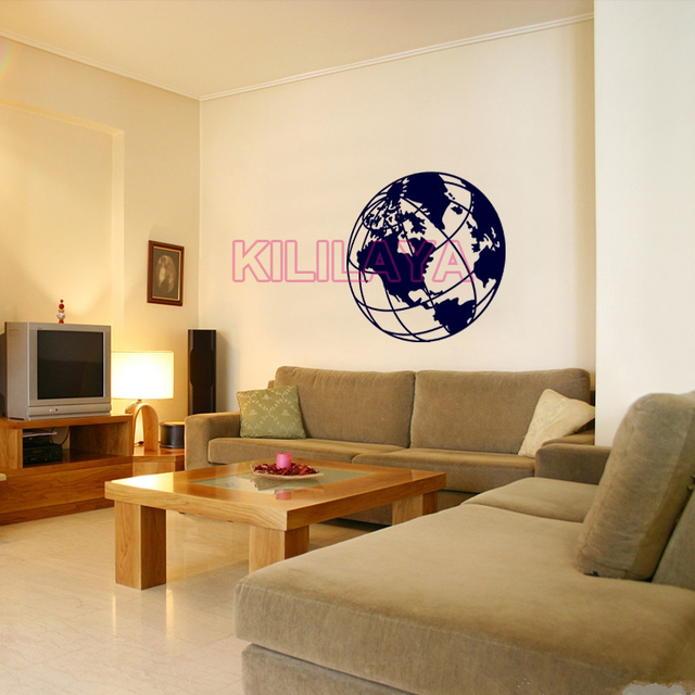 World map drawing earth globe vinyl wall sticker removable wall world map drawing earth globe vinyl wall sticker removable wall art decals wallpaper for living room gumiabroncs Choice Image